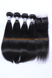 Commerce de gros nouveau noir naturel vierge droites Cheveux humains