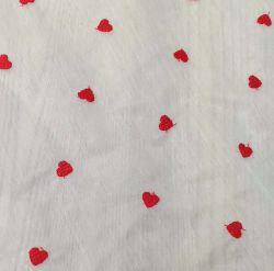 Corazón Chiffon tejido bordado de encaje