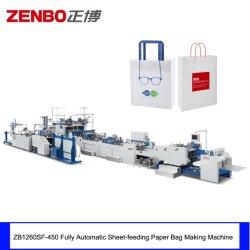 Alimentação de folhas totalmente automática máquina de sacos de papel com pega plana e comutação de puxador trançado Zb1260sf-450