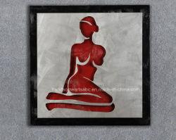 أحمر مثير المرأة الجسم 3D المعادن الحرف اليدوية الألمنيوم Relievo الزيت الرسم