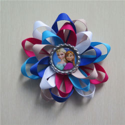 Hot Sale Frozen Grosgrain Ribbon Hair Bows with Bottle Caps for Kid (RW150605)