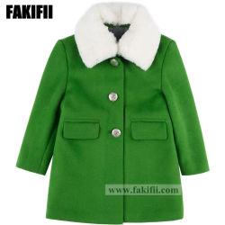 Usine de vêtements de marque de vêtements pour bébés enfants Hiver fille vert manteau de fourrure de la marque de laine usure extérieure