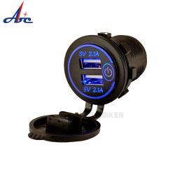 콘센트 전기 테이블 마운트 12V 2.1A 4.2A 플러그 전원 소켓 어댑터 모바일 GPS 듀얼 USB 포트 차량용 충전기