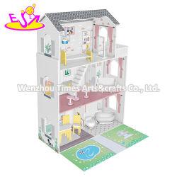 Classic 3 andares Mini crianças miniaturas Madeira Doll House com Jardim W06A438