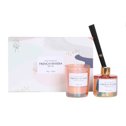 Groothandel Luxe Aroma Business Kaars Cadeauset Clear Pink Glazen Candle Jar deksel met doosje Candle Jar en Reed Set diffusor-flessen