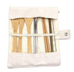 대나무 여행 식사용 수저 세트, 빨대, 청소용 브러시