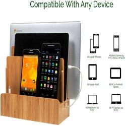 多重装置、アップグレードの携帯電話のためのデスクトップのドッキング端末のオルガナイザーのための自然なタケ木製の電話ホールダー充満端末は、父のためのギフトを錠剤にする