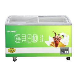 Puerta corrediza de vidrio curvo comercial escaparate de la isla de Pecho profundo helado del Gabinete de la pantalla de almacenamiento de los enfriadores Equipos de congeladores de supermercado, 300-500L