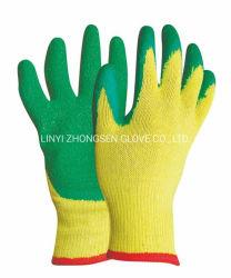 El mejor precio amarillo de 10g de poliéster y algodón, Guantes con recubrimiento de látex látex guantes de algodón verde ondulada