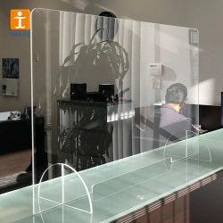 Comptoir de réception de gros en acrylique transparent de gardes d'éternuer Écrans de protection