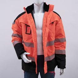 Veste réfléchissante travailleur rembourrage enduire avec le capot à l'extérieur des vêtements de travail extérieur de protection