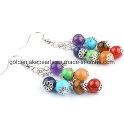Природных драгоценных камней валики Charkra Earring основного металла 8 мм или 925 серебристого цвета