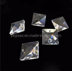 Cristal clair des perles de verre carré dans deux trous pour le rideau lustre Strand Darland décoration de porte