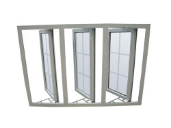 Preiswertes glasig-glänzendes UPVC Flügelfenster Windows der Preis-weißes Farben-Doppeltes mit Moskito-Netz