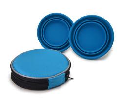 Alimento pieghevole ed acqua del silicone che alimentano la ciotola portatile del cane di corsa