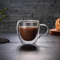 Tazza di vetro doppia di vetro della tazza di caffè di Borosilicate di vetro della tazza termoresistente del latte