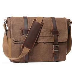 남성용 메신저 백 웨이세스된 캔버스 노트북 가방 방수 천연 가죽 가방 가방 남성용 대형 컴퓨터 작업용 가방 백