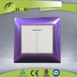 Interruttore viola della parete dello zinco dell'Ue certificato Ce/TUV/BV con indicatore luminoso
