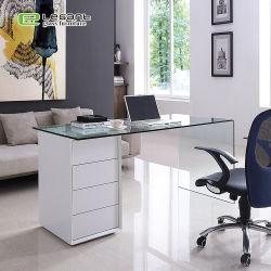 Últimos diseños de tabla de la Oficina de cristal con pintura blanca brillante cajon MDF