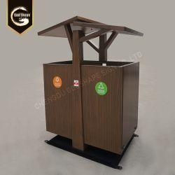 Custom moderno de gran capacidad de Papelera de acero acabado en madera para el espacio escénico