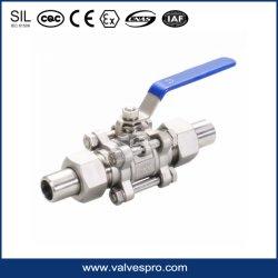 3PC geschweißtes Kugelventil mit Kugelventil des Anschluss-Rohr-CF8m 1000wog