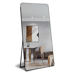 Espelho de montagem em espelho de comprimento total com suporte de liga de alumínio para quarto de casa