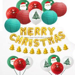 Banner Merry Christmas Tree 3D de la guirnalda de papel de aluminio de linterna de Bunting Decoración Globo de látex establecer parte suministros