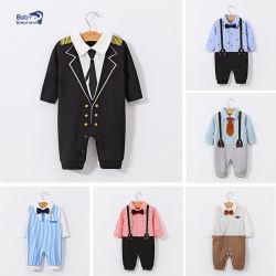 Venda a quente Cavalheiro Moda 100% algodão vestuário para criança camiseta com o colete Jumpsuit Bow tie desgaste de Inverno bebê recém-nascido Rompers Bebé vestuário infantil roupas