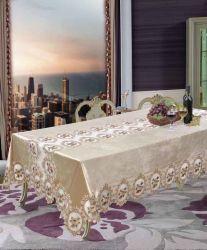 تخفيضات ساخنة قماشة فاخرة من قماش التالتطريز الأحمر لطاولة الزفاف قماش طاولة مطرزات على القماش الأورثوني