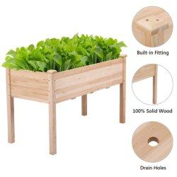 صندوق الزعنب المستطيل في الحديقة الخارجية صندوق زهرة وعاء خشبي مرتفع