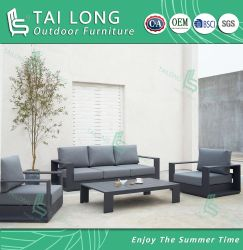 Conjunto de Sofá Exterior em alumínio Chinês com jardim Sunproof Cushion 3 lugares Sofá-mobília Mesa de Café ao ar livre