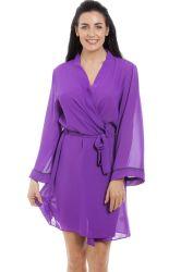 Женщин фиолетового цвета шифона устройство обвязки сеткой, короткое замыкание чисто халат Sexy белье для женщин халат