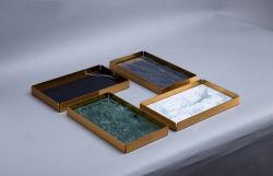 Fabricant Forme Rectangle blanc/gris/vert/plateau de marbre noir avec châssis en métal doré du marbre de l'artisanat pour la maison/hôtel