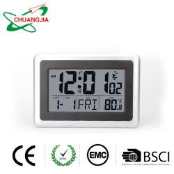Auto-Set Digital atómico Reloj de pared con la temperatura, la fecha, la humedad, el 4 de la zona horaria, mayorista de Dst automático