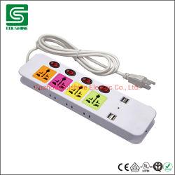 Универсальный переключатель электрической розетки Двойной разъем USB