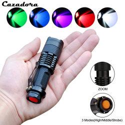 Уф фонарик фонарик Mini Q5 портативные зум на открытом воздухе легких водонепроницаемый масштабируемые светодиодный фонарь 14500 AA лампа белый зеленый голубой красный УФ