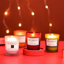 Bougies personnalisées de luxe 80 ml de petite cire de soja parfumée Photophore en verre boîte cadeaux de Noël bougies décoratives