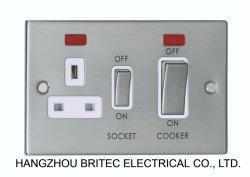 45A Dp Switch+13A에 의하여 전환되는 소켓 W/Neon (호리호리한 정각 가장자리)