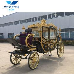 Luxury Quatro Rodas Royal Coach Red Black Vagão de cavalo para casamento