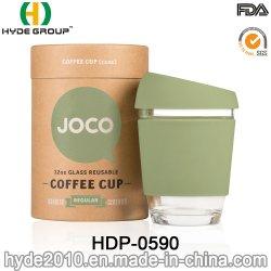 De milieuvriendelijke Vrije Kop van de Koffie van het Glas BPA 12oz met de Koker van het Silicone & het Deksel van de Dekking (hdp-0590)