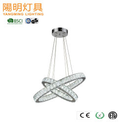 Dos anillos moderno hotel de lujo decoración proyectos iluminación colgante de cristal lámpara de araña