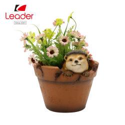 Garten Resin Hedgehog in Cracked Pot Flowerpot Decor