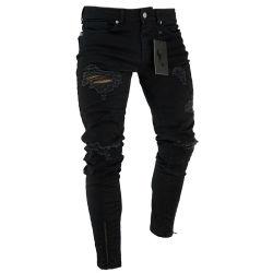 O Hip Hop Esticar Skinny Ripado angustiados Zipper Jeans para homens