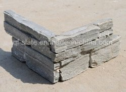 Природные серого сланца цементного камня в углу оболочка