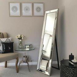 Высокое качество Silver рельефная скошенной кромкой рамы трюмо зеркало заднего вида