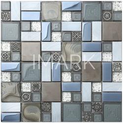 De Muur van de Badkamers van de Keuken van de Tegels van het Mozaïek van het Aluminium van de Mengeling van het Glas van het Plateren van het kristal