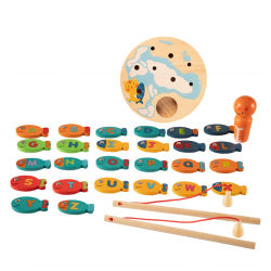 3년 전 몬트소리까지 자성 목조 낚시 게임 교육적인 학습 알파벳 Fish Cating Board Game Toy for Children 유아소년 소녀 유아
