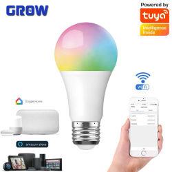 El Control de voz inteligente RGB 9W regulable Bombilla de luz E27 B22 LED de WiFi de la luz de la Magia de 220V AC trabaja con Alexa Google Portada