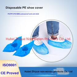 América do Sul de suprimentos médicos de plástico transparente do mercado/PE/CPE/Nylon Cor Azul Shoecover limpo, à prova de pó, resistente a fluidos com elástico Galochas para
