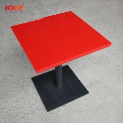La piedra acrílica Artificial moderna superficie sólida de color rojo de la tabla roja redonda para Café canicas Mesas de comedor de piedra
